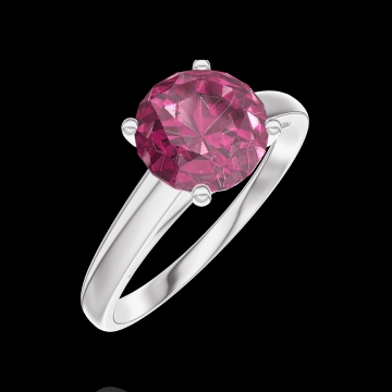 Create Engagement Ring 167804 White gold 9 carats - Ruby Round 1 Carats