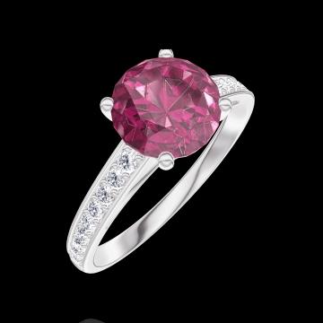 Creare Inel de Logodnă 167808 Aur alb 9 carate - Rubin Rotund 1 carate - Încrustare Diamant natural