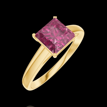 Bague Create 167902 Or jaune 9 carats - Rubis Princesse 1 carat