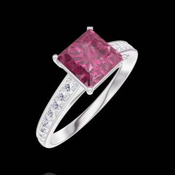 Bague Create 167908 Or blanc 9 carats - Rubis Princesse 1 carat - Sertissage Diamant