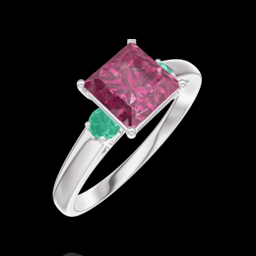 Anello Create 167984 Oro bianco 9 carati - Rubino Principessa 1 Carati - Pietre laterali Smeraldo