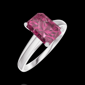 Create Engagement Ring 168004 White gold 9 carats - Ruby Baguette 1 Carats