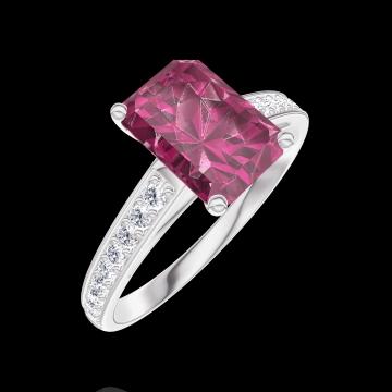 Bague Create Engagement 168008 Or blanc 9 carats - Rubis Rectangle 1 carat - Sertissage Diamant naturel