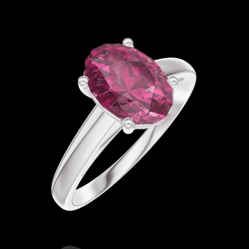 Create Engagement Ring 168104 White gold 9 carats - Ruby Oval 1 Carats