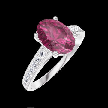 Bague Create Engagement 168108 Or blanc 9 carats - Rubis Ovale 1 carat - Sertissage Diamant naturel