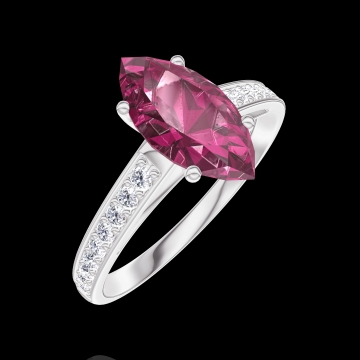 Ring Create 168308 White gold 9 carats - Ruby Marquise 1 Carats - Setting Diamond white