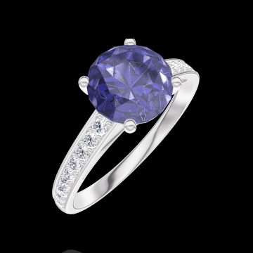 Ring Create 168408 White gold 9 carats - Blue Sapphire Round 1 Carats - Setting Diamond white