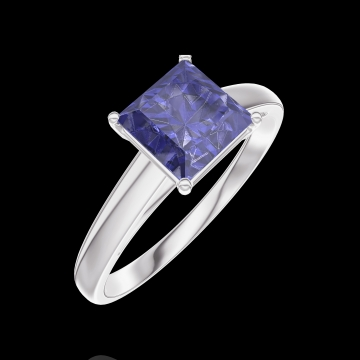 Bague Create 168504 Or blanc 9 carats - Saphir bleu Princesse 1 carat