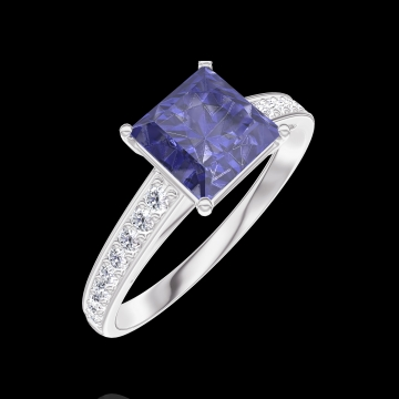 Anillo Create 168508 Oro blanco 9 quilates - Zafiro azul Princesa 1 quilates - Engastado Diamante