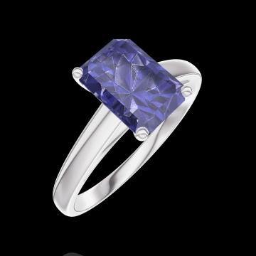Anillo Create Engagement 168604 Oro blanco 9 quilates - Zafiro azul Rectángulo 1 quilates