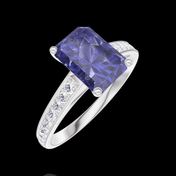 Anillo Create Engagement 168608 Oro blanco 9 quilates - Zafiro azul Rectángulo 1 quilates - Engastado Diamante natural