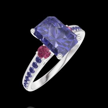 Ring Create 168656 Weißgold 375/-(9Kt) - Blauer Saphir Rechteckig 1 Karat - Seitliche Steine Rubin - Fassung Blauer Saphir