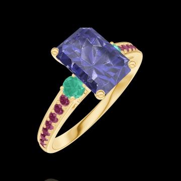 Ring Create 168690 Gelbgold 375/-(9Kt) - Blauer Saphir Rechteckig 1 Karat - Seitliche Steine Smaragd - Fassung Rubin
