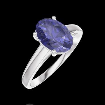 Bague Create 168704 Or blanc 9 carats - Saphir bleu Ovale 1 carat