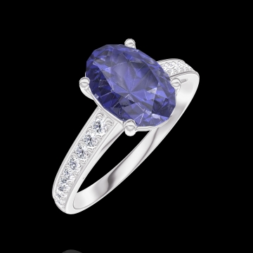 Bague Create 168708 Or blanc 9 carats - Saphir bleu Ovale 1 carat - Sertissage Diamant