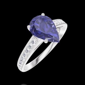 Anillo Create 168808 Oro blanco 9 quilates - Zafiro azul Pera 1 quilates - Engastado Diamante