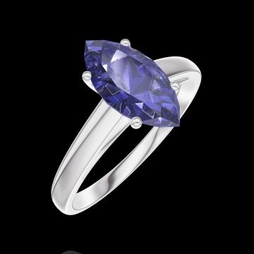 Ring Create 168904 Witgoud 9 karaat - Blauwe saffier Markies 1 Karaat