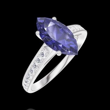 Anillo Create 168908 Oro blanco 9 quilates - Zafiro azul Marquesa 1 quilates - Engastado Diamante