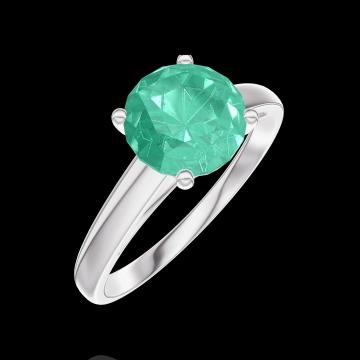 Create Engagement Ring 169004 Weißgold 375/-(9Kt) - Smaragd Rund 1 Karat