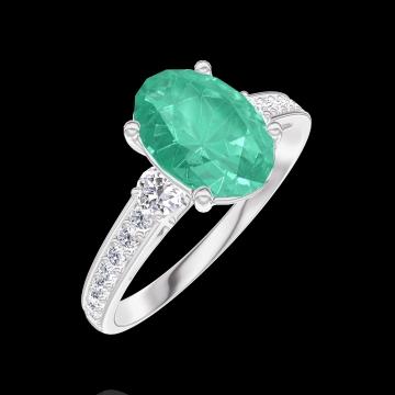 Anello Create Engagement 169328 Oro bianco 9 carati - Smeraldo Ovale 1 Carati - Pietre laterali Diamante - Incastonatura Diamante
