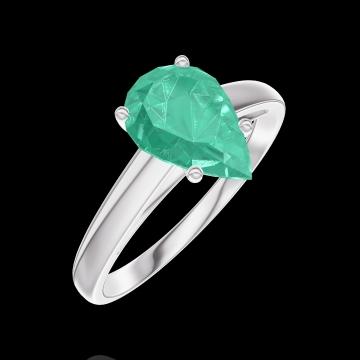Inel Create 169404 Aur alb 9 carate - Smarald Pară 1 carate