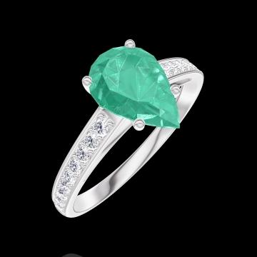 Inel Create 169408 Aur alb 9 carate - Smarald Pară 1 carate - Încrustare Diamant