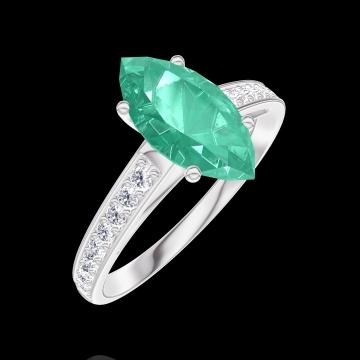 Anillo Create 169508 Oro blanco 9 quilates - Esmeralda Marquesa 1 quilates - Engastado Diamante