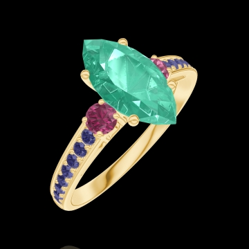 Bague Create 169554 Or jaune 9 carats - Émeraude Marquise 1 carat - Pierres de côté Rubis - Sertissage Saphir bleu