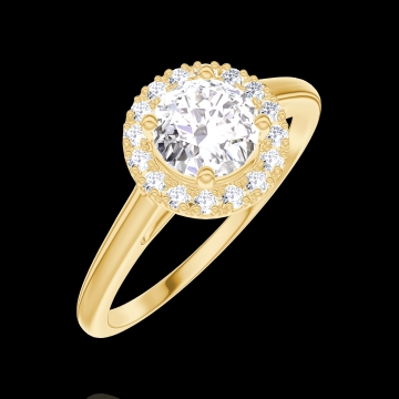 Ring Create 170001 Yellow gold 18 carats - Diamond white Round 0.5 Carats - Halo Diamond white