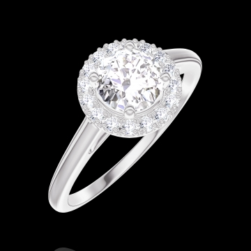 Ring Create 170003 Weißgold 750/-(18Kt) - Diamant Rund 0.5 Karat - Halo Diamant