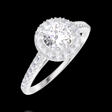 Ring Create 170007 White gold 18 carats - Diamond white Round 0.5 Carats - Halo Diamond white - Setting Diamond white