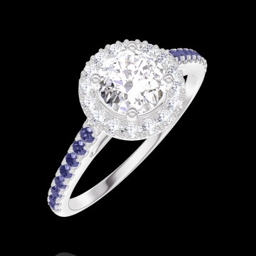 Ring Create Engagement 170015 Wit goud 18 karaat - Diamant Rond 0.5 Karaat - Halo Diamant - Setting Blauwe saffier