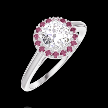 Ring Create 170019 White gold 18 carats - Diamond white Round 0.5 Carats - Halo Ruby