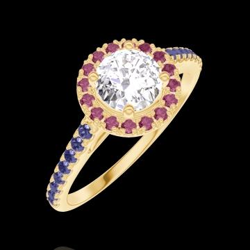 Anello Create Engagement 170030 Oro giallo 9 carati - Diamante Rotondo 0.5 Carati - Halo Rubino - Incastonatura Zaffiro blu