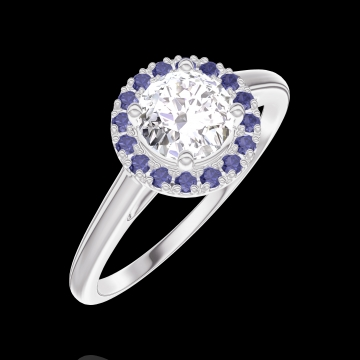 Ring Create 170035 White gold 18 carats - Diamond white Round 0.5 Carats - Halo Blue Sapphire