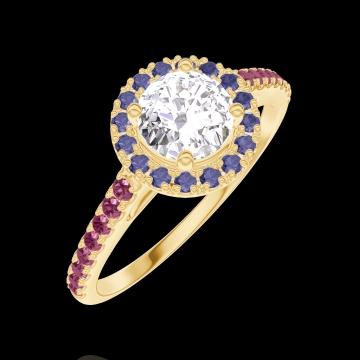 Anello Create Engagement 170041 Oro giallo 18 carati - Diamante naturale Rotondo 0.5 Carati - Halo Zaffiro blu - Incastonatura Rubino