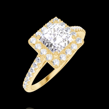 Ring Create 170053 Yellow gold 18 carats - Diamond white Princess 0.5 Carats - Halo Diamond white - Setting Diamond white