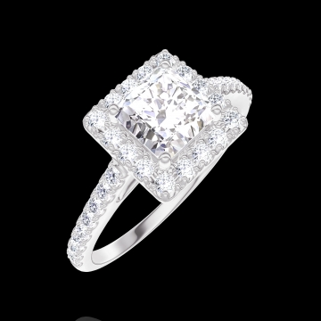 Bague Create 170055 Or blanc 18 carats - Diamant Princesse 0.5 carat - Halo Diamant - Sertissage Diamant