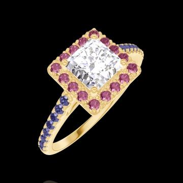 Anello Create Engagement 170077 Oro giallo 18 carati - Diamante naturale Principessa 0.5 Carati - Halo Rubino - Incastonatura Zaffiro blu