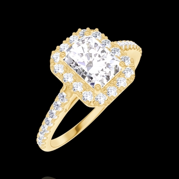 Ring Create 170101 Yellow gold 18 carats - Diamond white Baguette 0.5 Carats - Halo Diamond white - Setting Diamond white