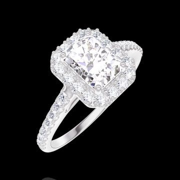 Bague Create 170103 Or blanc 18 carats - Diamant Rectangle 0.5 carat - Halo Diamant - Sertissage Diamant