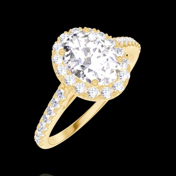 Ring Create 170149 Yellow gold 18 carats - Diamond white Oval 0.5 Carats - Halo Diamond white - Setting Diamond white