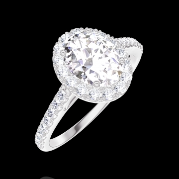 Bague Create 170152 Or blanc 9 carats - Diamant Ovale 0.5 carat - Halo Diamant - Sertissage Diamant