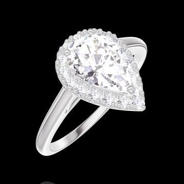 Inel Create 170196 Aur alb 9 carate - Diamant Pară 0.5 carate - Halo Diamant