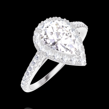 Anello Create Engagement 170200 Oro bianco 9 carati - Diamante naturale Goccia 0.5 Carati - Halo Diamante naturale - Incastonatura Diamante naturale