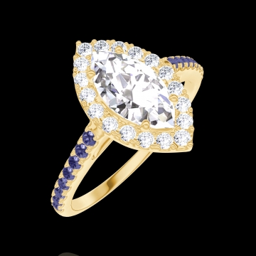 Anello Create Engagement 170253 Oro giallo 18 carati - Diamante naturale Marchesa 0.5 Carati - Halo Diamante naturale - Incastonatura Zaffiro blu