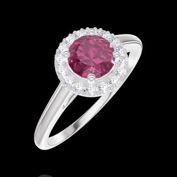 Anello Create Engagement 170292 Oro bianco 9 carati - Rubino Rotondo 0.5 Carati - Halo Diamante