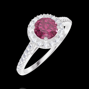 Create Engagement Ring 170296 White gold 9 carats - Ruby Round 0.5 Carats - Halo Diamond white - Setting Diamond white