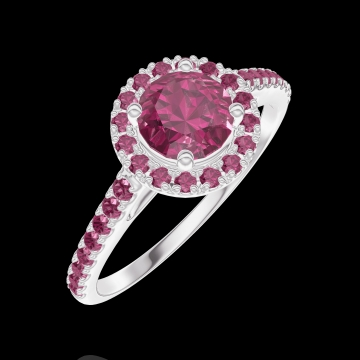 Bague Create 170316 Or blanc 9 carats - Rubis Rond 0.5 carat - Halo Rubis - Sertissage Rubis