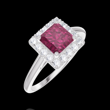 Bague Create 170340 Or blanc 9 carats - Rubis Princesse 0.5 carat - Halo Diamant